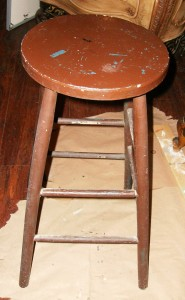 Stool before using CeCe Caldwell's Sedona Red
